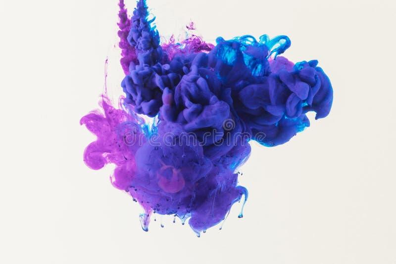 abstraktes Design mit blaue und purpurrote Tinte in das Wasser fließen, lokalisiert auf Weiß lizenzfreies stockfoto