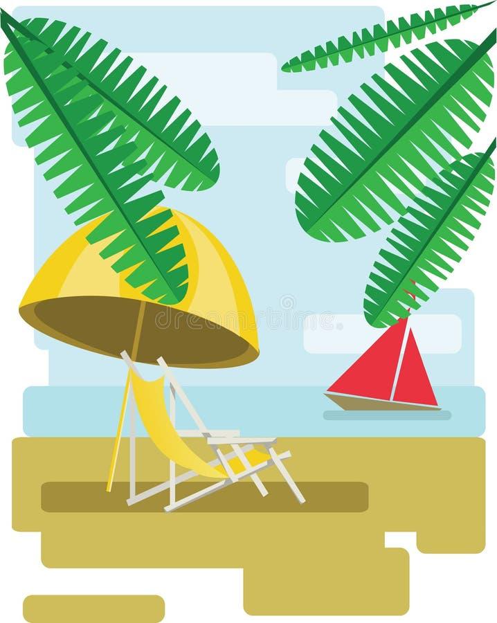 Abstraktes Design mit Palmblättern, Sand, Strand umrella und Stuhl und Ansicht zum Meer mit einem roten Boot vektor abbildung