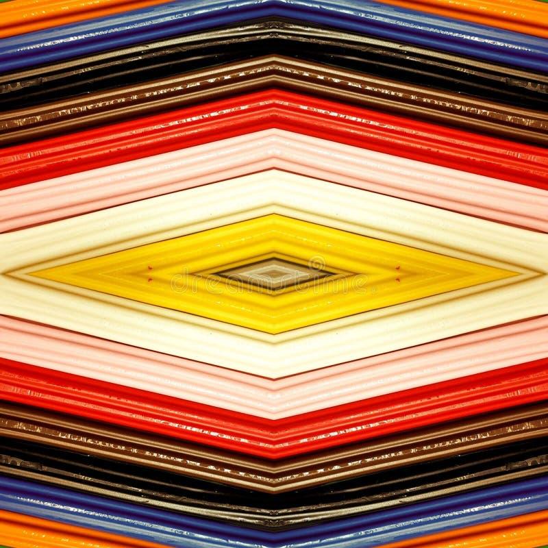 abstraktes Design mit Stücken Plasticinestangen in den verschiedenen Farben, im Hintergrund und in der Beschaffenheit stockbild