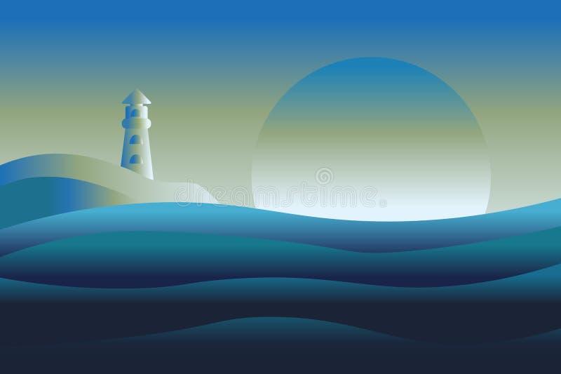 Download Abstraktes Design Von Leuchtturm- Und Seeozean Vektor Abbildung - Illustration von wolke, schön: 106801418