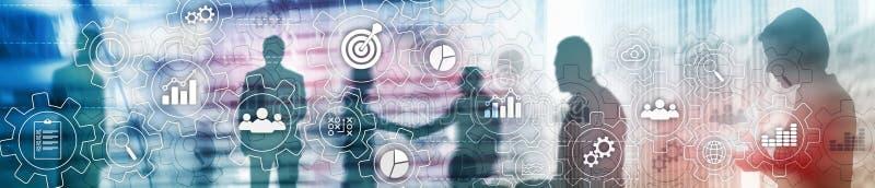 Abstraktes Diagramm des Geschäftsprozesses mit Gängen und Ikonen Arbeitsfluss- und Automationstechnikkonzept Websitetitelfahne stockfoto