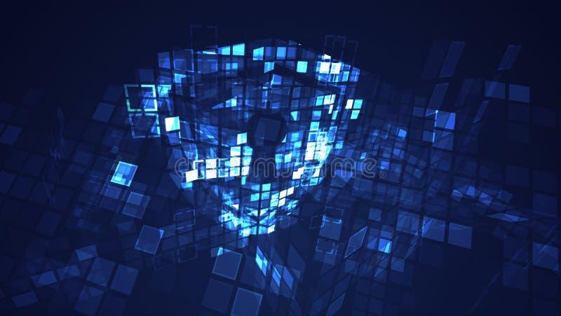 Abstraktes digitales Cyberschildschutz-Sicherheitskonzept stock abbildung
