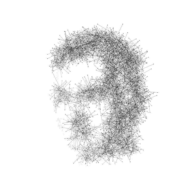 Abstraktes digitales Gesicht lokalisiert auf weißem Hintergrund Digitaltechnikdesign Polygonaler Technologiehintergrund lizenzfreie abbildung