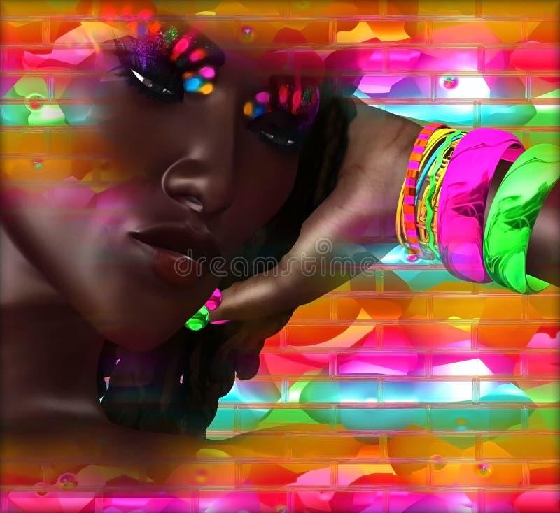 Abstraktes digitales Kunstbild des Gesichtsabschlusses einer Frau oben stock abbildung
