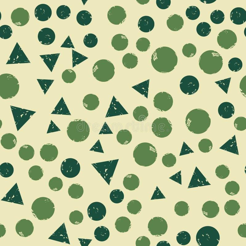 Abstraktes Dreieck und Rundformen nahtlose Muster Einfache Gestalttextur mit chaotisch gestrichenen Formen vektor abbildung