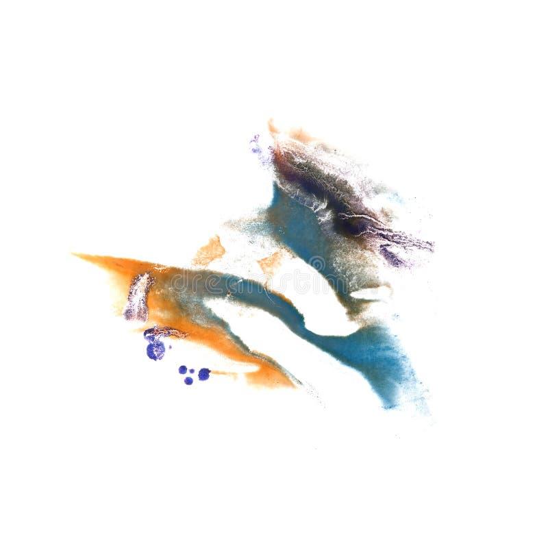 Abstraktes dunkelblaues, orange, lila Zeichnungsanschlag-Tintenaquarell stockbild