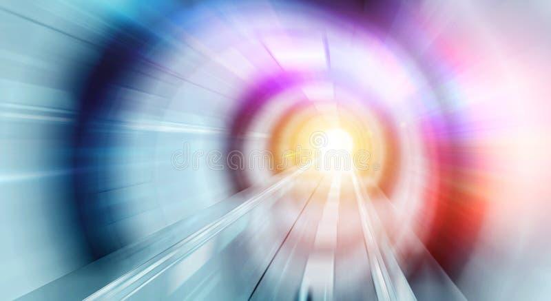 Abstraktes effectin des lauten Summens ein heller Tunnelhintergrund mit Ampeln vektor abbildung