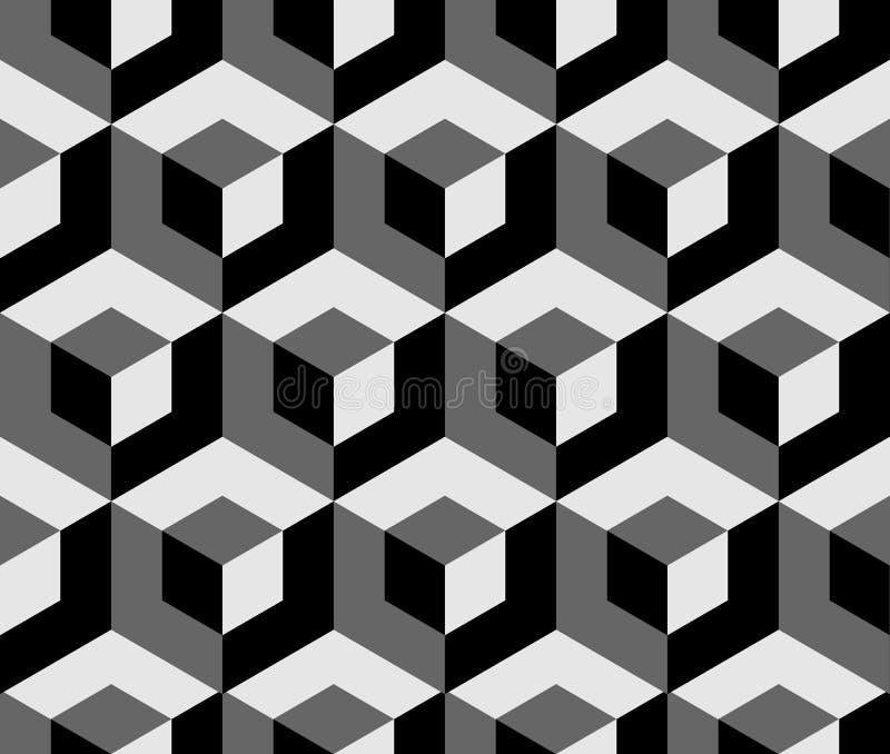 Abstraktes einfarbiges Muster mit Überschneidungsquadraten Nahtlose 3 vektor abbildung