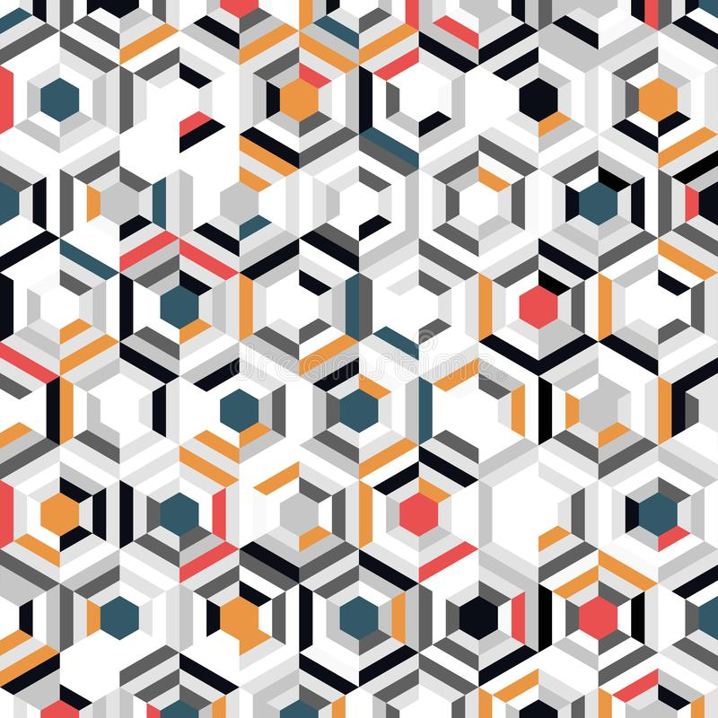 Abstraktes, farbenfrohes Hexagon-Muster-Design mit minimalem Dekorationshintergrund Illustrationsvektor lizenzfreie abbildung