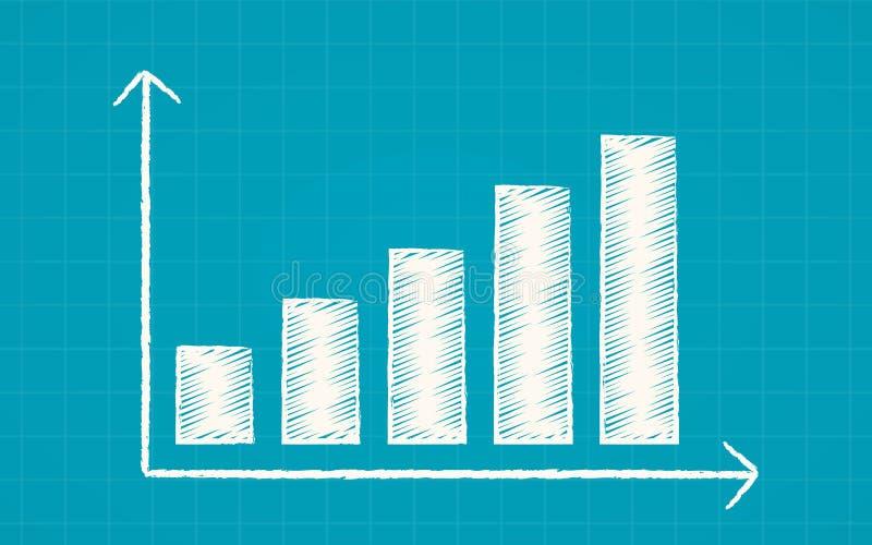 Abstraktes FinanzaufwärtstrendBalkendiagramm im Kreide Gekritzeldesign auf blauem Farbhintergrund vektor abbildung