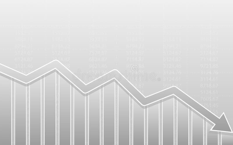 Abstraktes Finanzbalkendiagramm mit Abwärtstendenzlinie Pfeildiagramm auf schwarzem Farbhintergrund vektor abbildung
