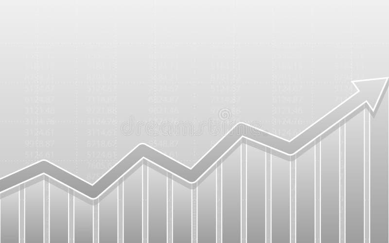 Abstraktes Finanzbalkendiagramm mit Aufwärtstrendlinie Pfeildiagramm auf grauem Farbhintergrund vektor abbildung