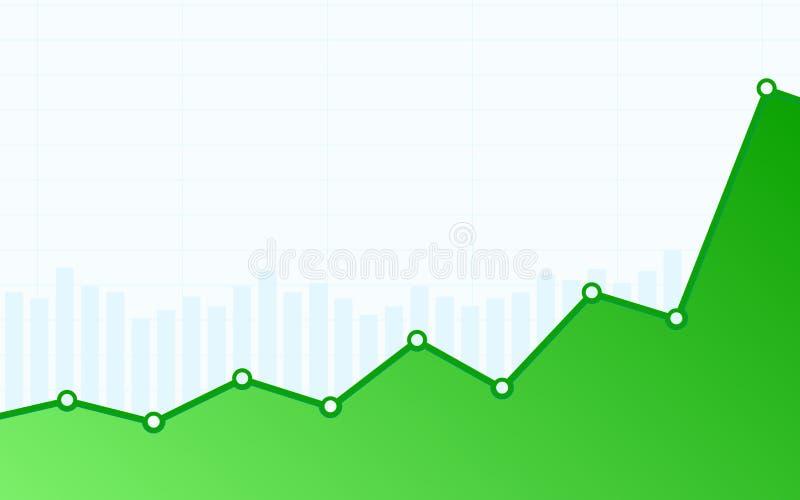 Abstraktes Finanzbalkendiagramm mit grüner Aufwärtstrendlinie Diagramm auf weißem Farbhintergrund vektor abbildung