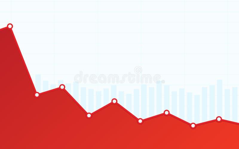 Abstraktes Finanzbalkendiagramm mit roter Abwärtstendenzlinie Diagramm auf weißem Farbhintergrund vektor abbildung