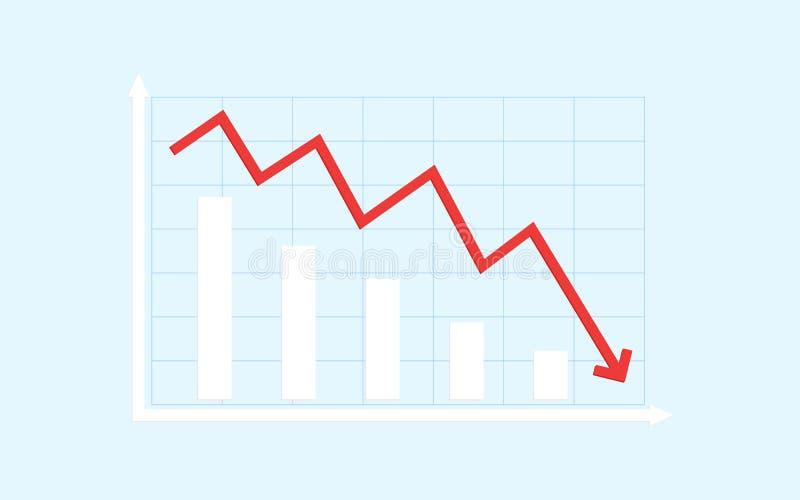 Abstraktes Finanzbalkendiagramm mit roter Abwärtstendenzlinie Pfeildiagramm auf blauem Farbhintergrund stock abbildung