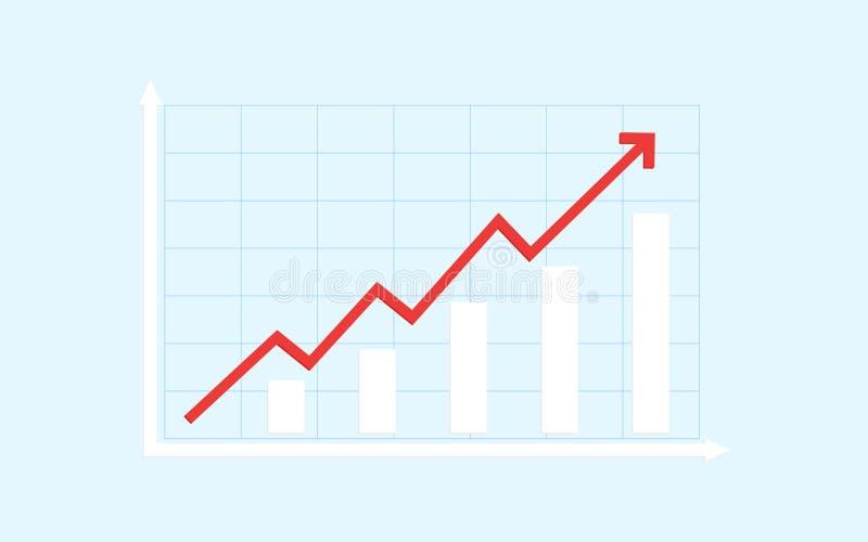 Abstraktes Finanzbalkendiagramm mit roter Aufwärtstrendlinie Pfeildiagramm auf blauem Farbhintergrund vektor abbildung