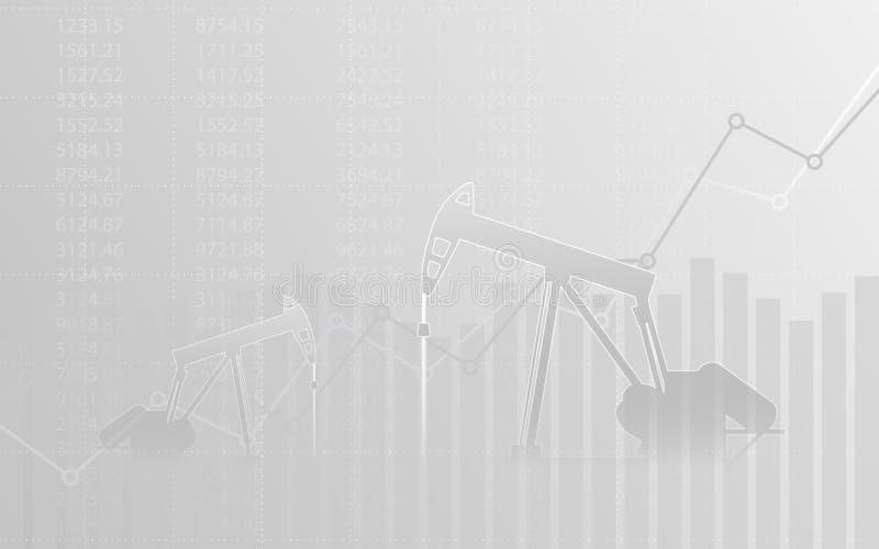 Abstraktes Finanzdiagramm mit Aufwärtstrendlinie Diagramm und Ölpumpen in der Börse auf grauem Farbhintergrund lizenzfreie abbildung