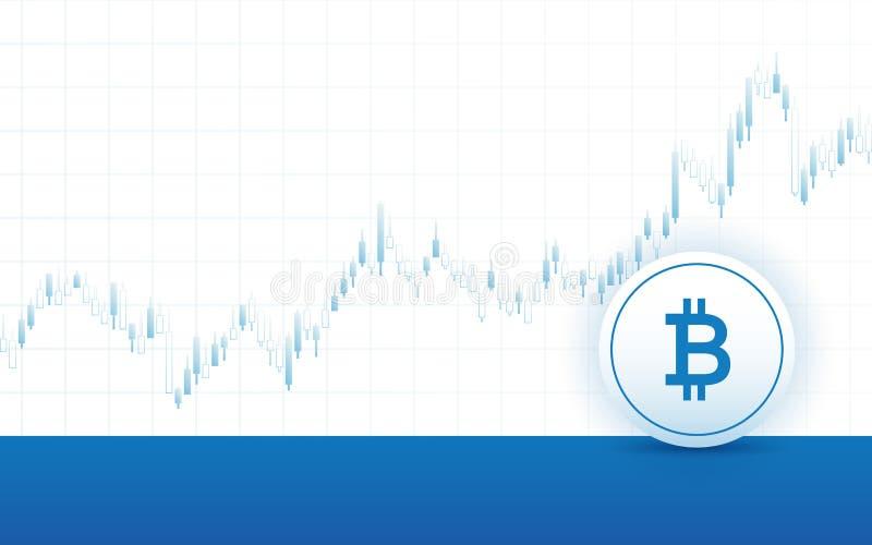 Abstraktes Finanzdiagramm mit Aufwärtstrendlinie Diagramm und bitcoin unterzeichnen in der Börse auf weißem Farbhintergrund stock abbildung