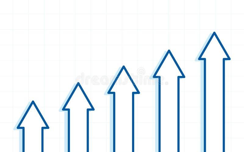Abstraktes Finanzdiagramm mit Aufwärtstrendlinie Pfeile auf weißem Farbhintergrund stock abbildung