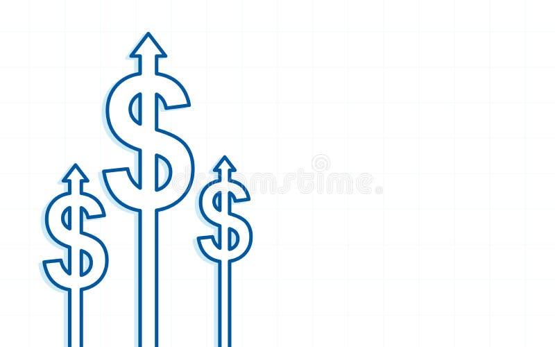 Abstraktes Finanzdiagramm mit Dollarpfeilsymbol auf weißem Farbhintergrund oben anheben stock abbildung