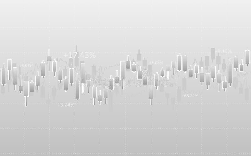 Abstraktes Finanzdiagramm mit Kerzenständer und Zahlen in der Börse auf grauem Farbhintergrund stock abbildung