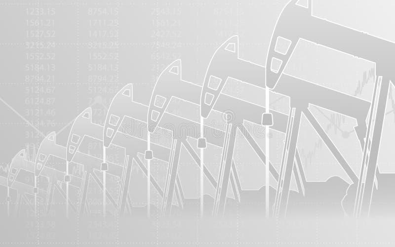 Abstraktes Finanzdiagramm mit Linie Diagramm und Ölpumpen in der Börse auf grauem Farbhintergrund vektor abbildung