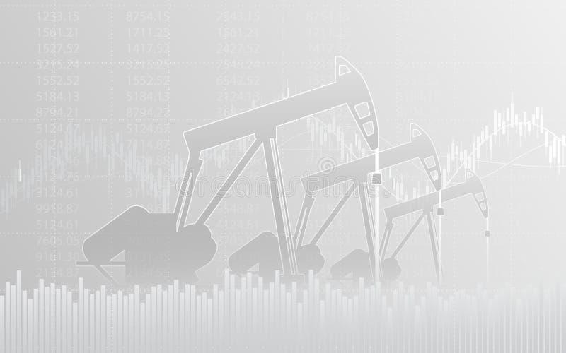 Abstraktes Finanzdiagramm mit Linie Diagramm und Ölpumpen in der Börse auf grauem Farbhintergrund lizenzfreie abbildung