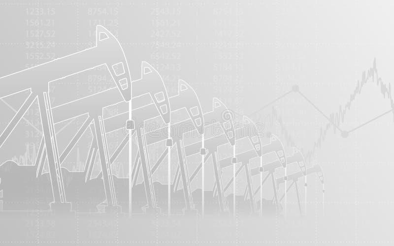 Abstraktes Finanzdiagramm mit Linie Diagramm und Ölpumpen in der Börse auf grauem Farbhintergrund stock abbildung