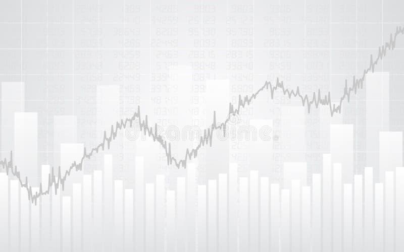 Abstraktes Finanzdiagramm mit Linie Diagramm und Zahlen in der Börse auf weißem Hintergrund der Steigung Farb stock abbildung