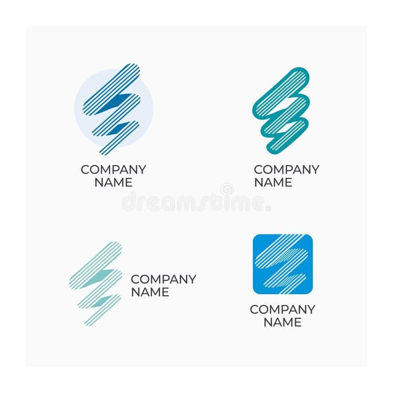 Abstraktes Firma-Zeichen Streifenlogo für Geschäft Firmennamenikone stockbild