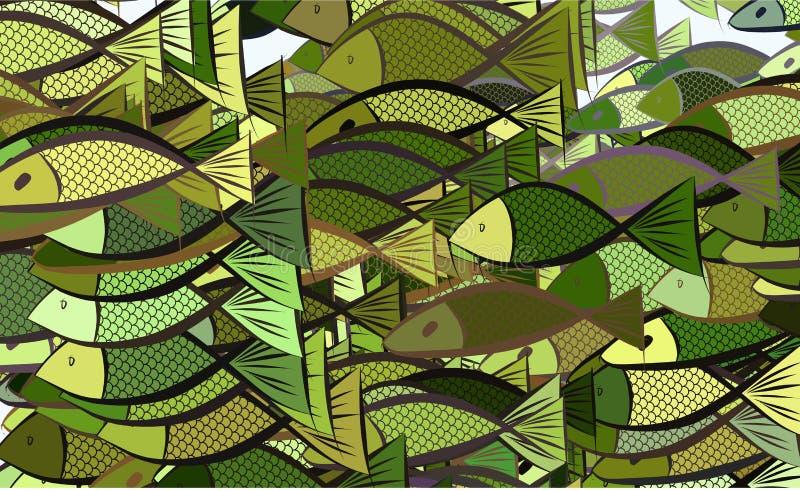 Abstraktes Fischillustrations-Hintergrundmuster Kreativ, Konzept, Kunst u. digitales vektor abbildung