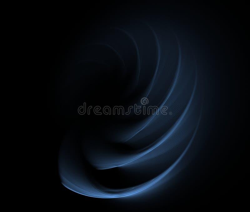 Abstraktes Fractalblau bewegt auf einen schwarzen Hintergrund wellenartig lizenzfreie stockfotografie