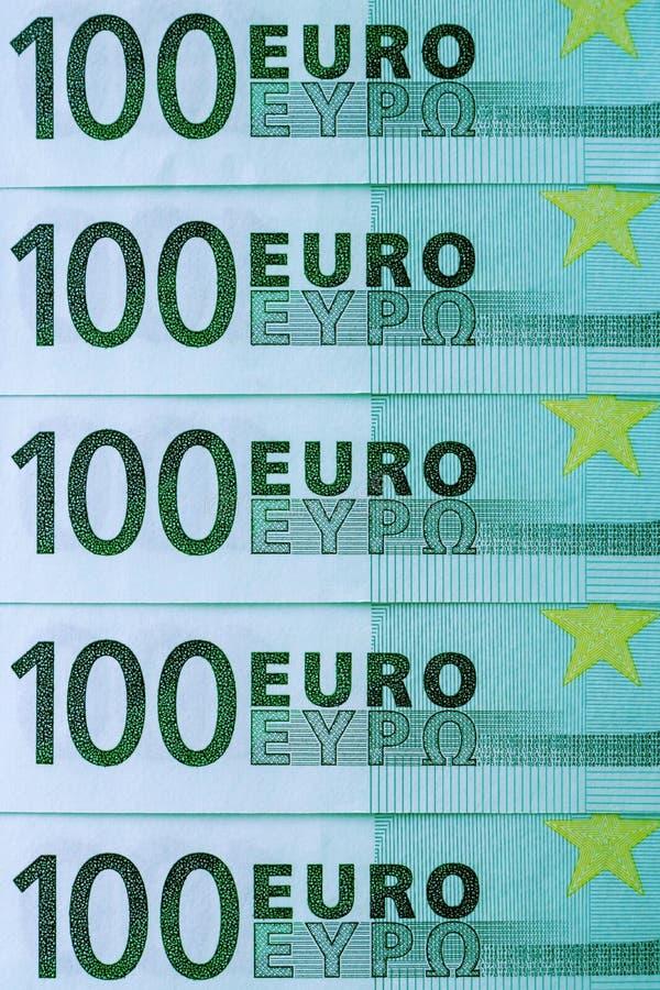 Abstraktes Fragment die Banknote von 100 Euros lizenzfreie stockbilder