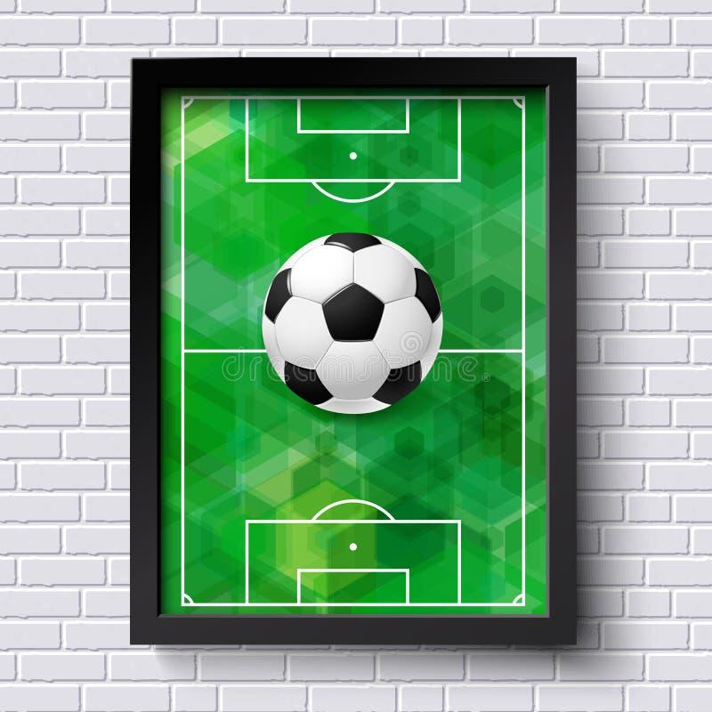 Abstraktes Fußballplakat Bildrahmen auf weißer Backsteinmauer mit foo lizenzfreie abbildung