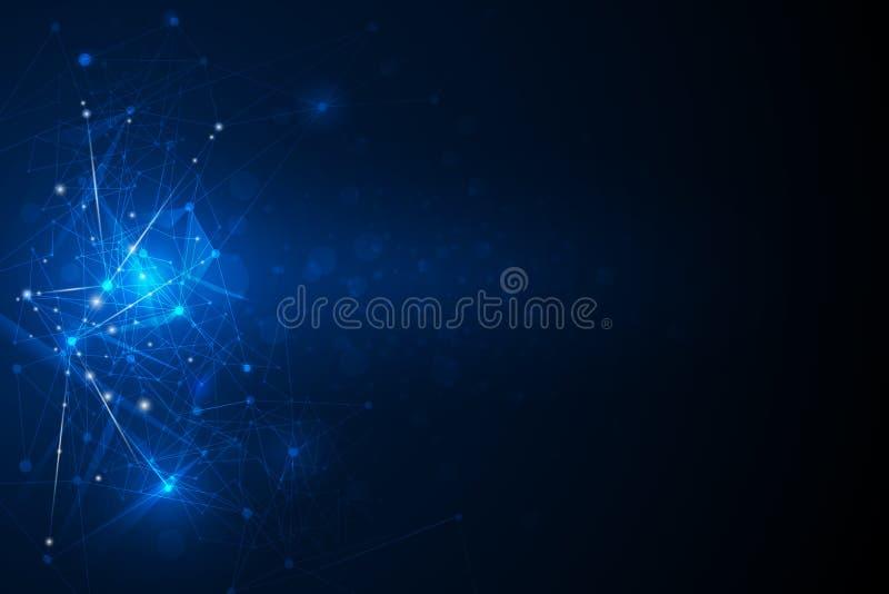 Abstraktes futuristisches - Molekültechnologie mit linearem und polygonalem Muster formt auf dunkelblauen Hintergrund lizenzfreie abbildung