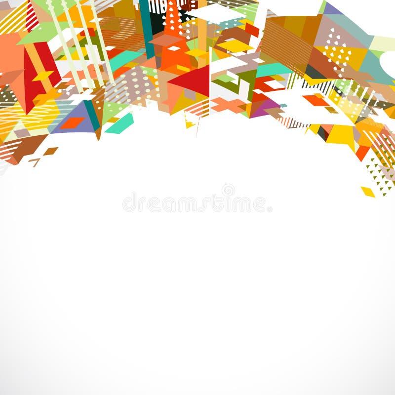 Abstraktes futuristisches und kreatives geometrisches mit grafischer Dekoration der Mischung auf Oberteil lizenzfreie abbildung