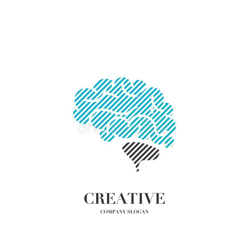 Abstraktes Gehirn, kreative Sinneslogovektor-Designschablone vektor abbildung