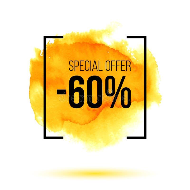 Abstraktes gelbes Aquarellspritzen mit Verkauf des Rabattes 40 Prozent heruntergesetzt vektor abbildung