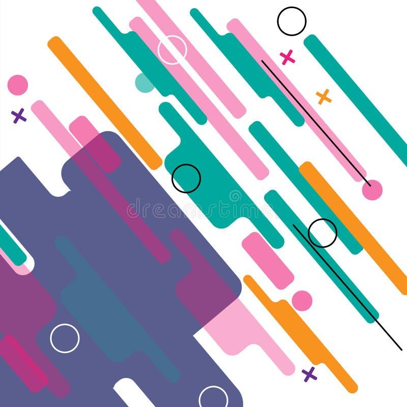 Abstraktes geometrisches Buntes Bild Moderne Artabstraktion mit der Zusammensetzung gemacht von den verschiedenen abgerundete For vektor abbildung