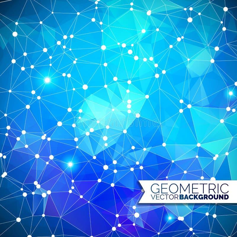Abstraktes geometrisches Dreieckdesign mit polygonaler Form und weißer Kreis für Illustration des Sozialen Netzes lizenzfreie abbildung