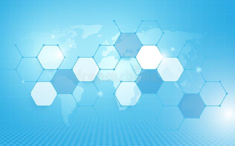 Abstraktes geometrisches Hexagon Muster und Wold zeichnen mit Hexagon-Konzepthintergrund der Technologie digitalem High-Techem au vektor abbildung