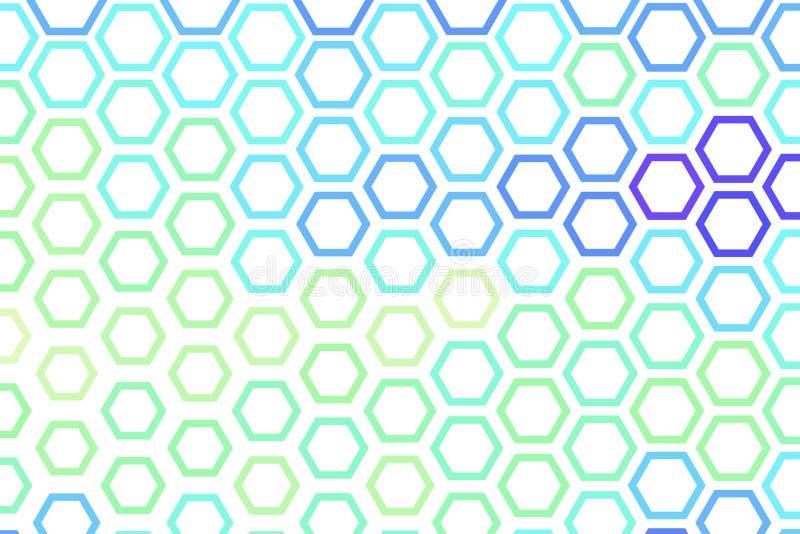 Abstraktes geometrisches Hexagonmuster, bunt u. künstlerisch für Grafikdesign, Katalog, Gewebe oder Beschaffenheitsdrucken u. -hi lizenzfreie abbildung