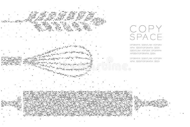Abstraktes geometrisches Kreispunktpixel-Muster Nudelholz, wischen und Weizenform, Bäckereikonzeptdesignschwarz-Farbillustration stock abbildung