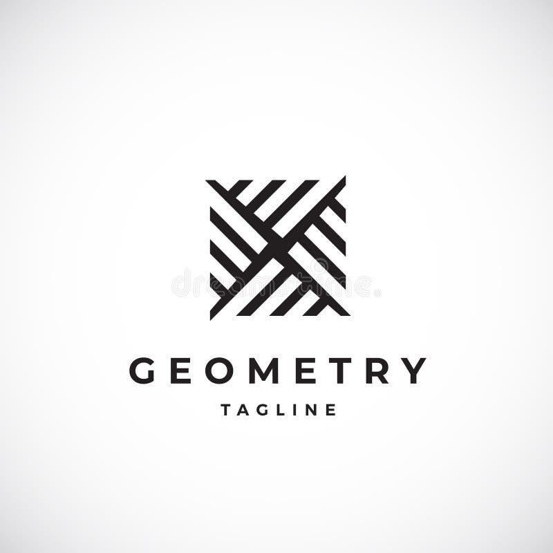 Abstraktes geometrisches minimales Vektor-Zeichen, Symbol oder Logo Template Modernes Konzept-Emblem mit Typografie vektor abbildung