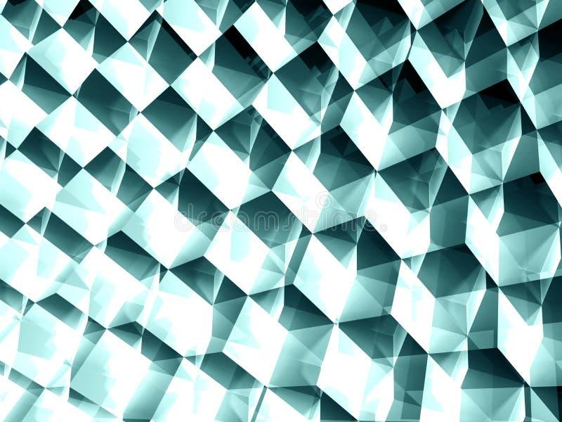 Abstraktes geometrisches Muster, glänzende blaue Würfel stockfoto