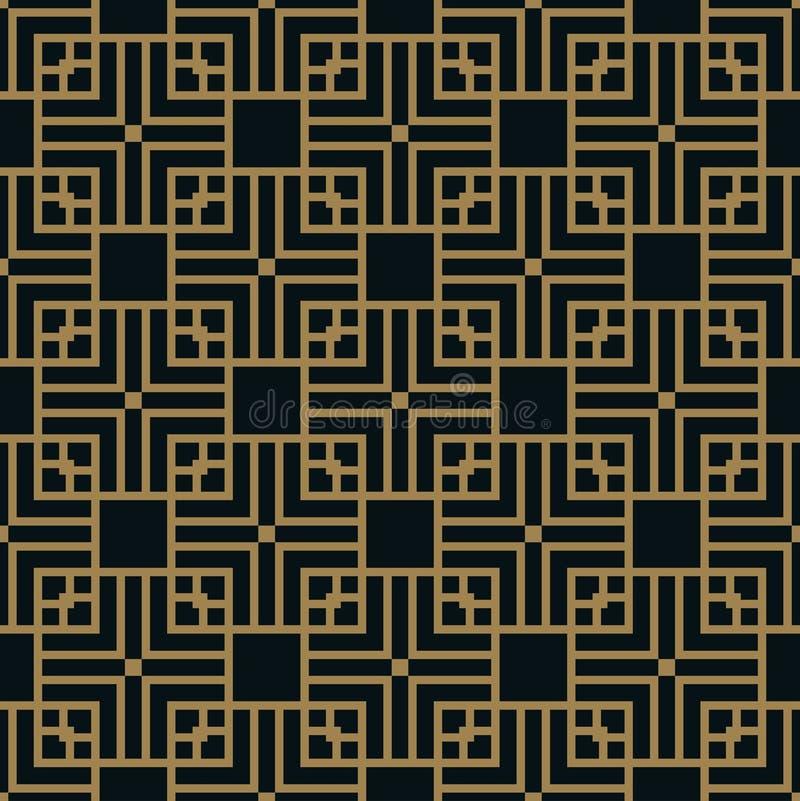 Abstraktes geometrisches Muster mit Linien Ein nahtloser Vektorhintergrund Blaue Schwarze und Goldbeschaffenheit stock abbildung