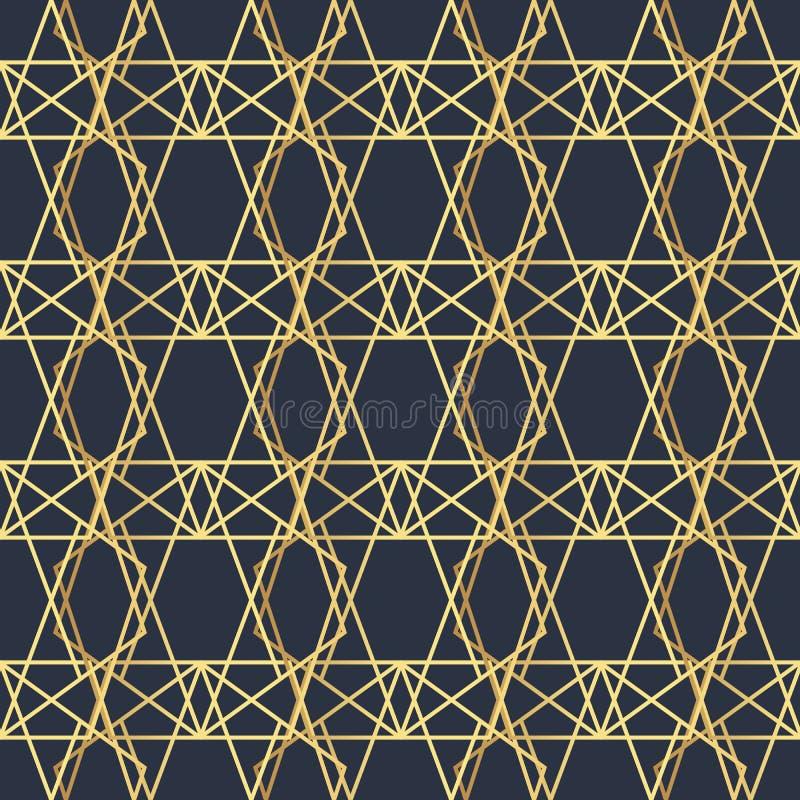Abstraktes geometrisches Muster mit Linien Ein nahtloser Vektorhintergrund Dunkelblaue und Goldbeschaffenheit Polygonaler nahtlos vektor abbildung