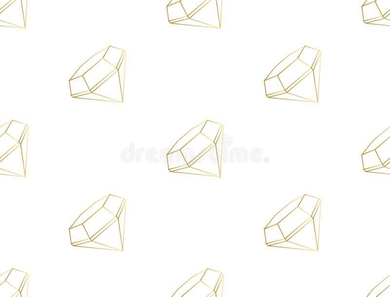 Abstraktes geometrisches Muster von ursprünglichen Formen Steigungsglanz Golddiamant lokalisiert auf weißem Hintergrund Nahtloser stock abbildung