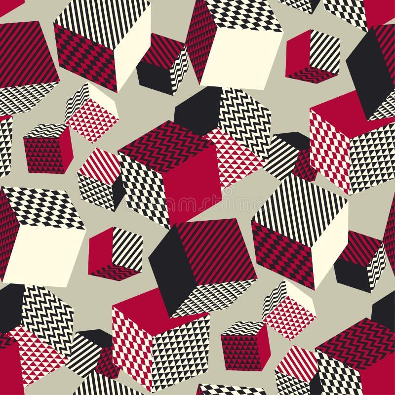 Abstraktes geometrisches nahtloses Muster 3d Volumenillusionsgeometrie lizenzfreie abbildung