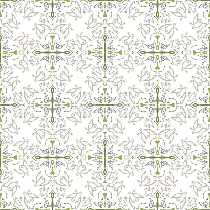 Abstraktes geometrisches nahtloses Muster mit Vögeln stock abbildung